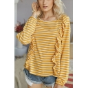 Fashion Stripe Printed Stringy Selvedge Loose Fit Tee Top for Girls