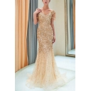 Pretty Womens Embellished Zip Back Backless V Neck Short Sleeve Floor Length Sheath Gown Mermaid Dress in Gold