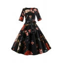 Black Glamorous Womens Floral Printed Pleated Bow Tie Zipper Back Crew Neck Half Sleeve Midi Swing Dress