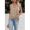 Khaki Cozy Womens Solid Color Twist Open Back V Neck Sleeveless Loose Fit Tank Top