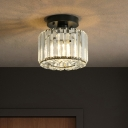 Crystal Prisms Square/Round Ceiling Lamp Contemporary 1-Bulb Flush Mount Light Fixture in Black
