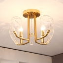 Shell Semi Flush Mount Chandelier Modern Faceted Crystal Panels 4 Lights Gold Ceiling Mounted Fixture