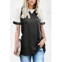 Casual Contrast Stitching Short Sleeve Crew Neck Loose Fit Tunic Top Tee for Womens