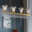 4 Heads Flower Island Light Postmodern Gold Crystal Hanging Pendant with Fringe for Dining Room
