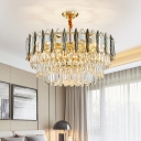 Clear Crystal Layered Suspension Lamp Modern 9-Light Pendant Chandelier in Black and Gold for Living Room