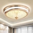 Black/Gold Round Ceiling Flush Light Minimalist Faceted Cut Glass 16