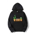 Street Cactus Cat Printed Pouch Pocket Long Sleeve Drawstring Loose Fit Hoodie