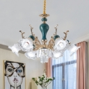 Blue Blossom Hanging Chandelier Modern Style 6/8-Light Clear Crystal Pendant Lighting for Parlor