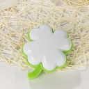 Clover Small Plug in Night Light Kids Style Plastic Nursery LED Wall Lighting in Green-White