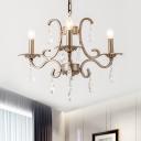 Gold 3/6/8 Heads Hanging Chandelier Vintage Crystal Drips Candlestick Ceiling Suspension Light
