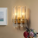 Modern Half Cylinder Sconce Light Fixture Crystal Rectangle 2-Head Bedside Wall Mount Lamp in Gold