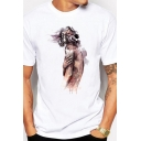 Mens Cozy T-Shirt Hand-painted Naked Figure Mask Pattern Short Sleeve Crew Neck Regular Fitted Tee Top