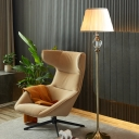 1 Head Conical Reading Floor Light Country Beige/Coffee Fabric Floor Lamp with Urn Crystal Deco