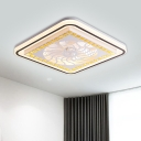 Square Flush Mount Contemporary Acrylic LED White Flush Ceiling Light with Bloom/Spiral/Leaf Pattern