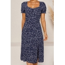 Pretty Womens Ditsy Floral Printed Short Sleeve Sweetheart Neck Slit Mid A-line Dress