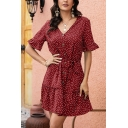 Fancy Polka Dot Printed Bell Short Sleeve V-neck Button up Bow Tie Waist Ruffled Short A-line Dress in Ladies