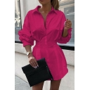Elegant Womens Plain Pleated Waisted Single Breasted Turn Down Collar Long Puff Sleeve Fitted Tunic Shirt
