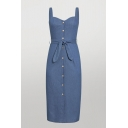 Cool Girls Solid Color Bow Tie Single Breasted Straps Sweetheart Neck Sleeveless Midi Sheath Slip Denim Dress in Blue