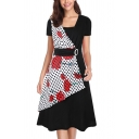 Trendy Womens Patchwork Floral Polka Dot Print Pleated Buckle Embellished Waisted Short Sleeve Square Neck Midi A-Line Dress