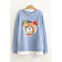 Korean Style Bear Graphic Long Sleeve Patched Crew Neck Relaxed Pullover Sweatshirt for Girls