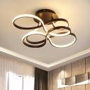 Twisting Semi Flush Light Nordic Metallic White/Coffee/Gold LED Flush Mount Ceiling Fixture in White/3 Colors Light