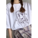 Pretty Girls Comic Character Printed Short Sleeve Crew Neck Relaxed Fit T Shirt in White