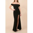 Elegant Solid Color Off the Shoulder High Slit Maxi Fishtail Dress for Special Occasion for Women