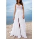 Glamorous Ladies Applique Sheer Mesh Round Neck High Slit Maxi Flowy Dressing Gown in White