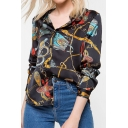 Fashionable Womens Baroque All-over Printed Long Sleeve Spread Collar Button up Regular Fit Shirt Top