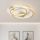 Double Rings Metallic Semi Flush Mount Modernism LED Gold Flush Ceiling Light for Living Room
