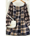 Womens Unique Plaid Print Zipper Back Patchwork Mesh Long Puff Sleeve Off the Shoulder Mini A-Line Dress in Black