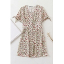Dainty Beige Ditsy Floral Printed Pleated Waist Button Down Bow Tie Short Sleeve V Neck Short A-Line Dress for Ladies