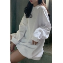 White Casual Plain Button Front Turn-down Collar Long Sleeve Relaxed Tunic Pullover Sweatshirt