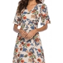 Women's Plus Size Summer Beige Floral Printed V-Neck Mini A-Line Dress