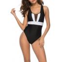 New Stylish Color Block Crisscross Open Back One Piece Scoop Neck Swimwear