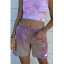 Popular Tie Dye Printed Elastic Waist Patched Regular Fit Shorts in Gray