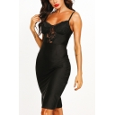 Sexy Ladies Lace Patched Spaghetti Straps Mid Tight Cami Dress in Black