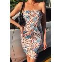 Edgy Girls All Over Butterfly Leopard Pattern Strapless Mini Bodycon Tube Dress in Blue