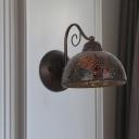 Single Head Dome Wall Lighting Ideas Vintage Style Rust Metallic Wall Mounted Light
