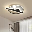 Circular Flush Light Fixture Modern LED Black Flush Mount Lamp with Mountain Pattern for Bedroom