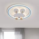 Rabbit Metallic Flushmount Lighting Cartoon Pink/Yellow/Blue LED Flush Mount Lamp for Kids Bedroom