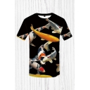 Mens 3D T-Shirt Simple Carp Pattern Slim Fitted Round Neck Short Sleeve T-Shirt
