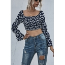 Chic Womens All over Floral Print Backless Square Neck Puff Long Sleeve Slim Fitted Crop Blouse Top in Black