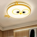 Kids LED Ceiling Flush Mount with Metallic Shade Pink/Yellow/Blue Bird Flush Light Fixture for Bedroom