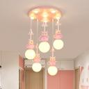 White Glass Bulb Hanging Light Cartoon 5 Heads Pendant Lighting in Pink for Kids Room, Warm/White Light