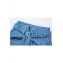 Women's New Trendy High Rise Eyelet Tied Waist Oblique Zip Light Blue Regular Fit Jeans