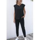 Formal Womens Solid Color Short Sleeve Crew Neck Loose T Shirt & Ankle Slim Fit Pants Set