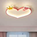 Loving Heart Ceiling Mounted Fixture Contemporary LED Bedroom Flushmount Lighting in Pink