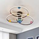 Metal Planetary Orbit Semi Flush Mount Nordic Style LED Grey Close to Ceiling Lighting Fixture