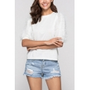 Simple Womens Mesh Patchwork Crew Neck Half Sleeve Regular Fitted Tee Top in White